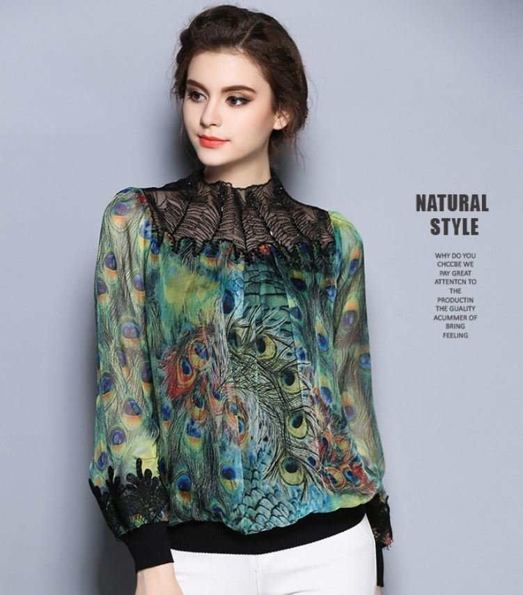 RSS Boutique US Size 8 Blouses for Women S-2XL Peacock Tops for Women Long Sleeve Formal Tees
