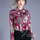 Free Shipping Magenta Blouse Printed Peacock Blouses Floral Tops Collared Blouse for Women