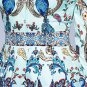 Princess Dresses Royalty Clothing Peacock Patterns Blue Dress for Women New Trendy Pleated Dress