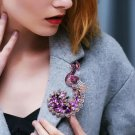 New Crystal Trendy Clothes Pins Fashion Brooch Purple Peacock Brooch for Women