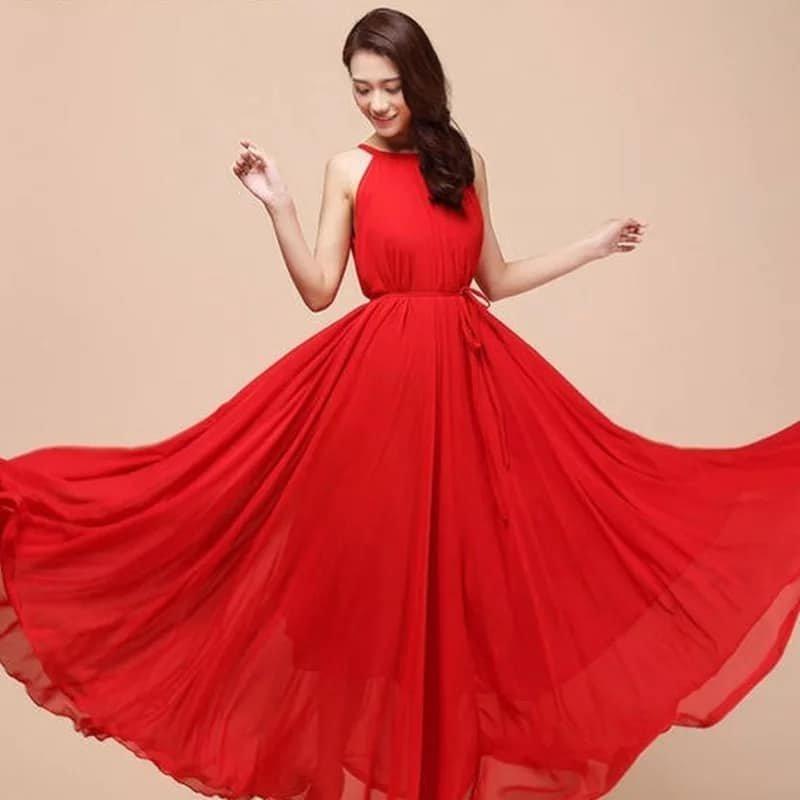 Free Shipping Beautiful Dresses for Women Red Tank Dress Ruffled Maxi Dress For Women