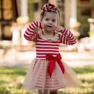 Ivory and Red Stripes Red Dress for Infant Girls Golden Collar Free Headband
