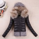 Black Knitted Sweater Splicing Slim Fit Removable Fur Hood Long Sleeve Black Winter Coats for Women