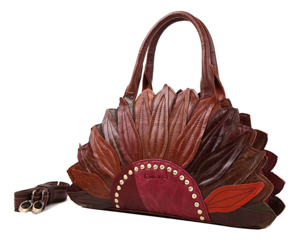Brown Leather Bags Luxury Tote for Women Genuine Leather Handbags Handmade Purse Lady Bags