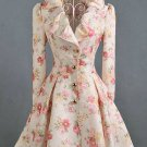 Peach Floral Trench Coats-High End Elegant Coats for Women-Fashion Pleated Trench Coats