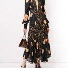 Women's Fashion Long Dresses for Women V-Neck Printed Floral Black Dress for Women