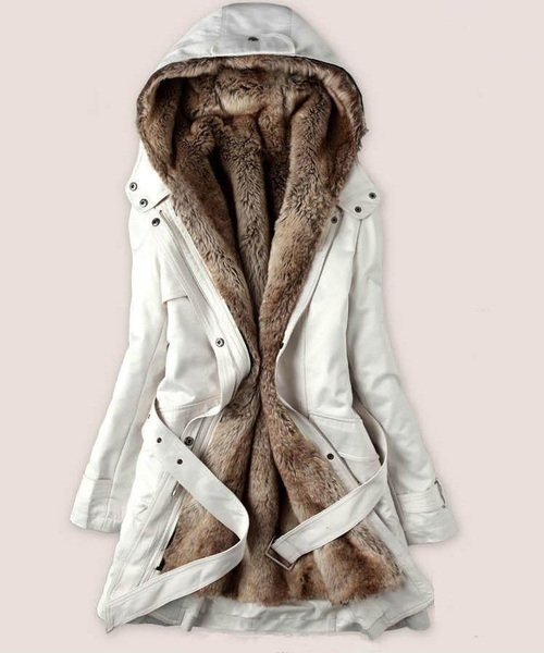 Free Shipping Detachable Fur Lining Off White Parka White Winter Coats Hooded Jackets for Women