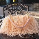 Free Shipping Real Ostrich Feathers Handbag Bridesmaids Evening Bags Bridal Diamond Clutch