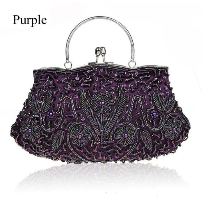 Purple Free Shipping Purple Clutch Evening Exquisite Embroidery Beaded Clutch for Women