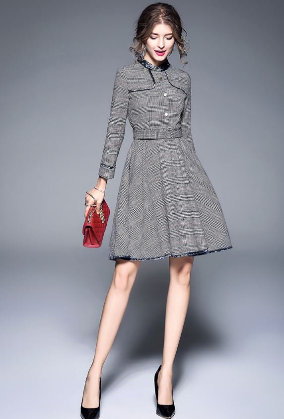 Medium Size Gray Dress Velvet Trim High Quality Checkered Houndstooth Dress Coat for Wome