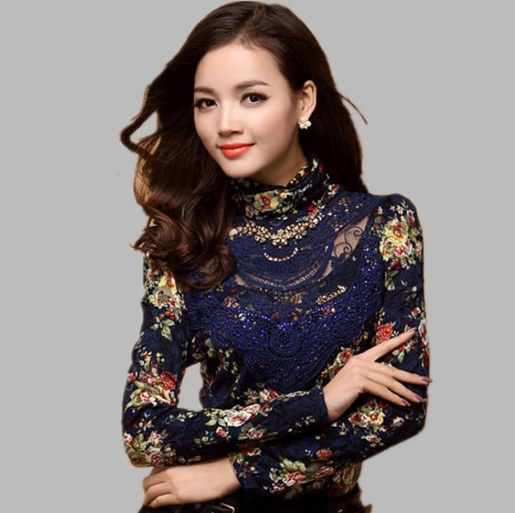 Blue Blouse Navy Blue Tops Long Sleeve Lace Stretch Blouse for Women Turtleneck Blouse