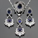 Free Shipping Sapphire Blue Jewelry Set for Women 925 Sterling Silver for Brides Bridesmaids Sets