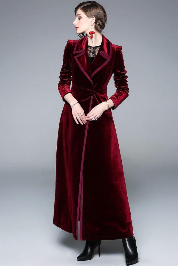 Slim Fit Long Velvet Burgundy Trench Coats for Women Soft Rich Red Velvet Overcoats