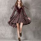 Asymmetrical Plaid Dress for Women with Low V-Neck Ruffled Collar Ruffles and Pleats