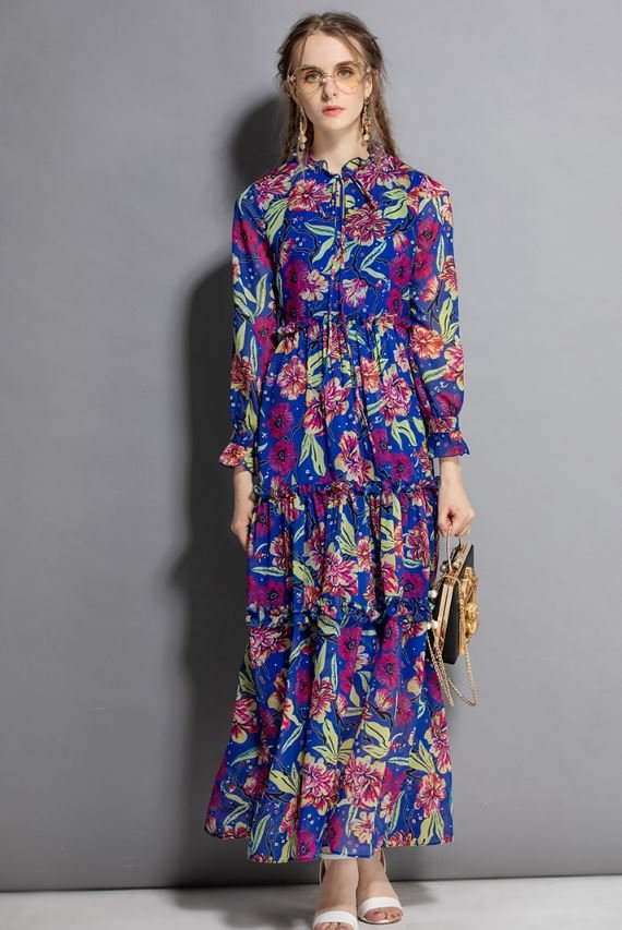 Women's Blue Dress Floral Maxi Dress Ankle Length Summer Dresses for Women British Outfit