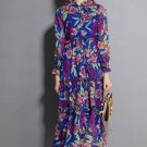 Royal Blue Maxi Dress for Women Printed Floral Floor Length Dresses