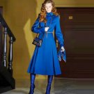 Superior Women's Clothing Royal Blue Trench Coats Dress Black Trim Elegant Dresses