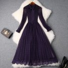 Stretchable Fashion Purple Dress for Women Selected Eggplant Color Gauze Pleated Dress