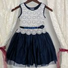 New Trend Navy Blue Toddler Girls Dress FREE Shipping Bow Headband Ivory Tops Dresses