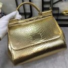 Luxury Life Famous Brand Golden Bags for Women with FREE Wallet Snake Skin Pattern