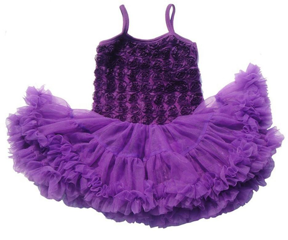 Ready to Ship Purple Dress Rosette Ballerina Baby Girls Tutu Dress Props with Matching Baby Headband