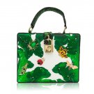Famous Designer Green Box Banana Leaves Leather Bags for Women Golden Padlock