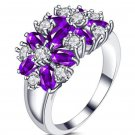 FREE SHIPPING ON SALE Amethyst Floral Ring 10CT Cubic Zircon Stones Purple Rings