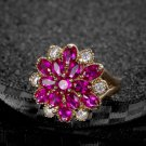 Fashion Promise Rings For Women Hotpink Elegant Crystal Rose Gold Filled Engagement Ring