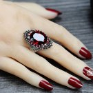 New Trendy Red Crystal Party CZ Rings for Women Size 6 Rings Antique Silver Rings