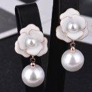 New Drop Earrings Ivory White Camelia Flower Earrings for Women Fashion Brand CC Earrings