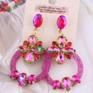 RSS Boutique Dangle Fuchsia Earrings Circle Hoops Crystals Glass Earrings for Women