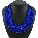 Royal Blue Necklaces for Women Royal Blue Silk Chokers for Women Fashion Trendy Bib Statement
