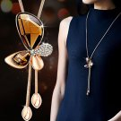 Classic Butterfly Sweater Necklace with Long Tassel Golden Necklace Women Bijoux Pendants Gift