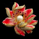 New Luxury Red Fire Lotus Flower Brooch Scarf Pins and Brooch for Women