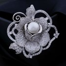 Silver Rose with One Giant Pearl Silver Brooch for Women Wedding Pins and Brooches