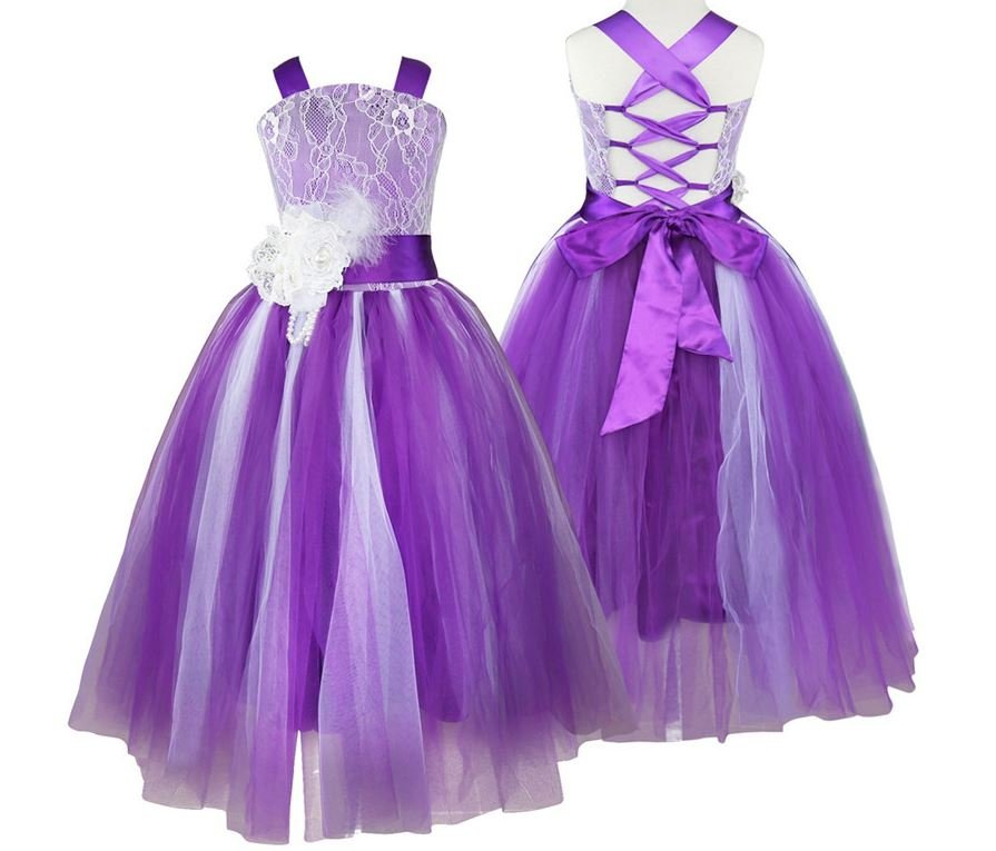 Little Flower Girls Dress Ages 3T up to 10 Years Old-PURPLE Flower Pageant Party Dress