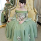 Birthday Girls Green Dress Off Shoulder Floor Length Dress for Tween Girls Princesses