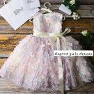 New Patchwork Dresses Birthday Girls Creamy Pink Dress FREE Tiara-Daddy-Daughter Dance Outfit