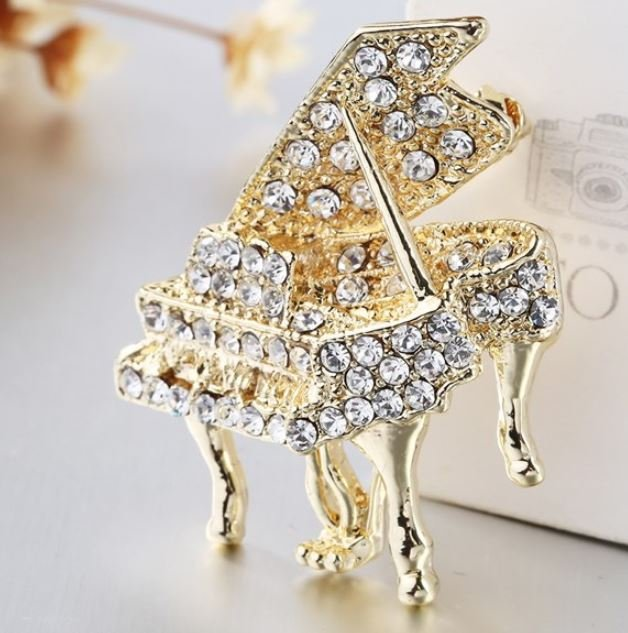 Lady Pianist Brooch Piano Brooches for Women Full Crystals