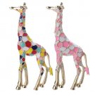 Wholesale 2 Pcs Multicolored and Pink Giraffe Brooch African Savannah Tourist Guide Brooch