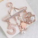Rose Gold Hanger Brooch for Women Number 5 Pearls and Floral Hanging Gift