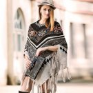 Black Winter Wraps for Women Colorful Triangle Shawls Winter Wool Wraps for GrandMa
