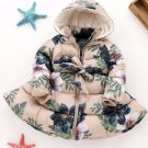 READY 5-6t Girls Parka Beige Winter Coats Toddler Girls Hooded Snow Parka Printed Floral Jackets