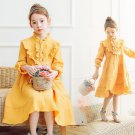 Ruffled Yellow Dress for Baby Girls Linen Dress for Spring Time Mid-calf Orange Dress for Girls