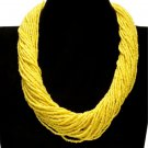 RSS Boutique Multilayer Necklaces Twisted Links of Gazillion Beads Yellow Collars for Women