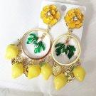 Baroque Earrings Runway Yellow Earrings for Women- Dangle Yellow Lemon Earrings-Fruit Earrings