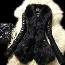 Pretty Black Jackets for Women Faux Rabbit Fur Coats for Women Black Leather Jackets