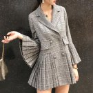 Pleated Blazers for Women Ready to Ship Turn Down Collar Ruffled Sleeves Gray Jacket
