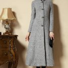 New Ultra Long Overcoats for Women Gray Trench Coats Woolen Winter Dress Coats