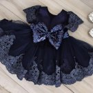 Ballgown Dress for Baby Girls 3-6 Months Sleeveless Navy Blue Dress for Babies with Big Bow